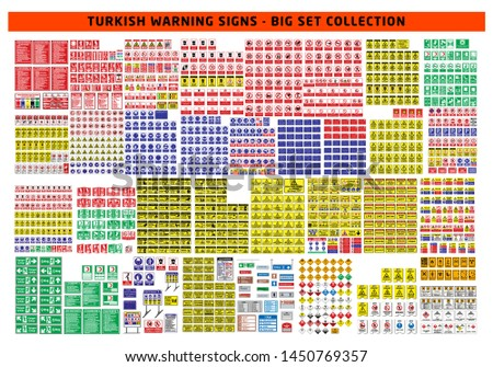 Turkish signage models, hazard sign, prohibited sign, occupational safety and health signs, warning signboard, fire emergency sign. for sticker, posters, and other material printing. easy to modify.