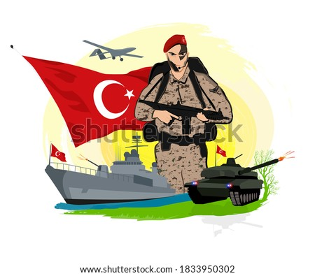 Turkish soldier. tank. battle ship. Big Turkish flag with moon and stars. commando. camouflage war plane. drone. sunrise. nature. weaponry. Stok fotoğraf ©