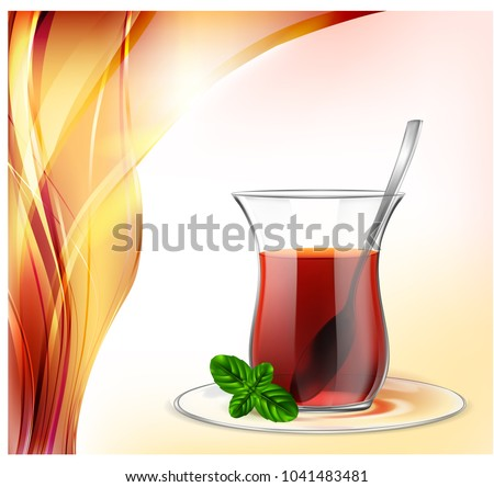 Turkish tea cup with black tea, silver spoon and mint on red waves background. Tea illustration for advertising.