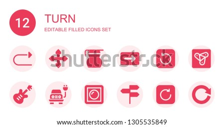 turn icon set. Collection of 12 filled turn icons included Redo, Direction, Measuring glass, Refresh, Electric, Dimmer, Directions, Anywhere