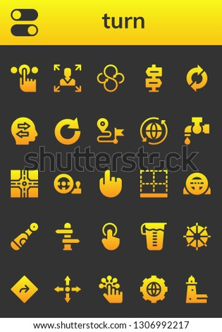 turn icon set. 26 filled turn icons.  Collection Of - Tap, Switches, Decision making, Sync, Direction, Confused, Redo, Crossroad, Steering wheel, Bottom, Electric, Measuring glass