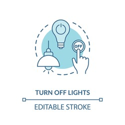 Turn off light turquoise concept icon. Hand pressing lamp switch. Preserving energy usage. Resource saving idea thin line illustration. Vector isolated outline RGB color drawing. Editable stroke