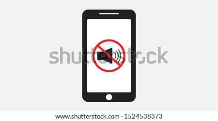 Turn off phone ringer icon. No bell on smartphone monitor. No sound sign for mobile phone vector illustration. Volume off or mute mode sign for smartphone, cellphone silence zone