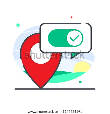 turn on or enable location concept illustration flat design vector eps10. modern graphic element for landing page, empty state ui, infographic Stock foto ©