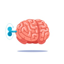 Turn on the brain with a key, work like a clock mechanism, cranking, in the head is the key. Modern flat style, vector illustration.