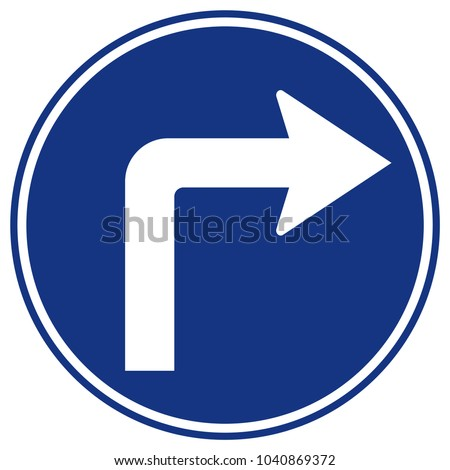 Turn Right Ahead Traffic Sign,Vector Illustration, Isolate On White Background Icon. EPS10