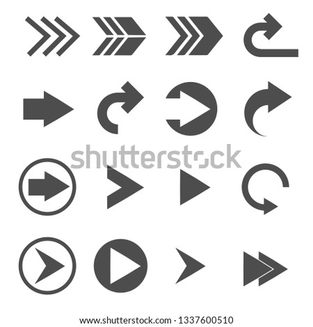 turn right arrow sign icons set vector #1337600510
