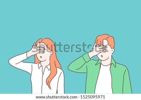 Turning blind eye cartoon concept. Woman and man closing eyes with palm gesture, looking through fingers, people refusing to watch, peeking, avoiding seeing evident facts. Simple flat vector