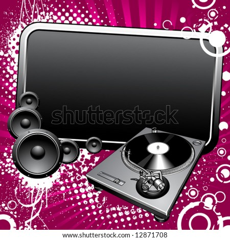 Turntable and glossy banner on a grunge background