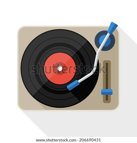 turntable flat icon with long