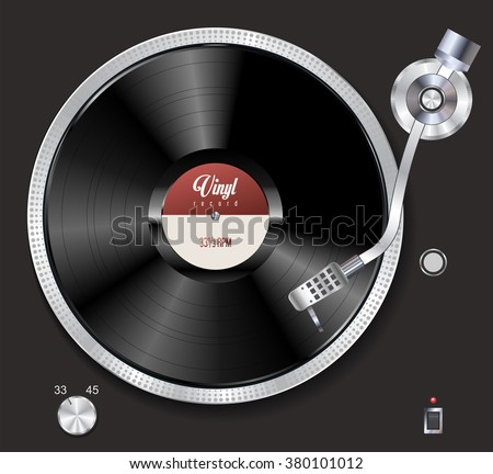 turntable playing vinyl vector
