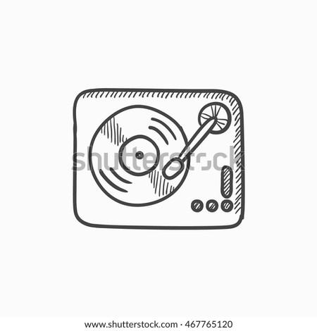 turntable vector sketch icon