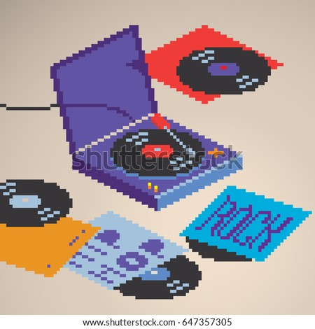 Turntable vinyl record player being played with rock and hip-hop lettering records vinyls covers, isometric view, pixel art style vector graphic illustration.
