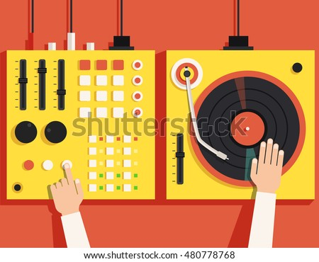 turntable with dj hands vector