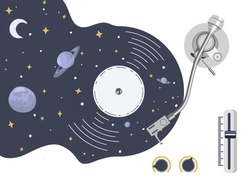 Turntable with vinyl record in the form of space with planets and stars. Stylized symbol. Music is a whole universe of inspiration. Vector illustration.