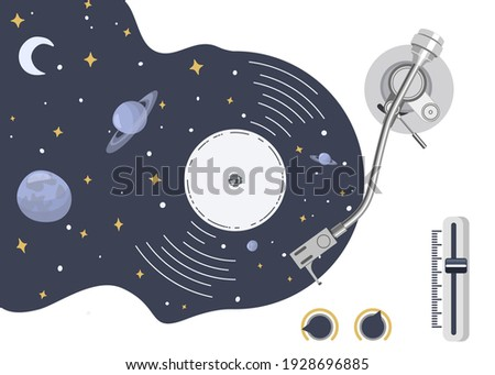 Turntable with vinyl record in the form of space with planets and stars. Stylized symbol. Music is a whole universe of inspiration. Vector illustration. Foto stock ©