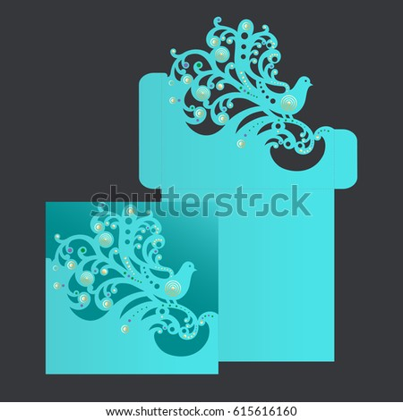 Turquois square envelope with carved openwork pattern. Template of cover for laser cutting.