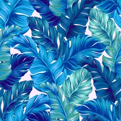 turquoise and blue tropical leaves. Seamless graphic design with amazing palms with vertical direction. Fashion, interior, wrapping, packaging suitable. Realistic palm leaves.