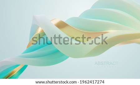 Turquoise and golden wave shape. Vector 3d illustration. Abstract background with twisted strokes. Intertwined streaming stripes. Curvy ribbons. Minimalist decoration for banner or cover design. Stock foto ©