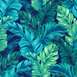 turquoise and green tropical leaves. Seamless graphic design with amazing palms. Fashion, interior, wrapping, packaging suitable. Realistic palm leaves. Vertical layout. leaves growing upwards.
