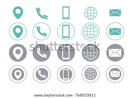 Turquoise and grey vector business card contact information icons