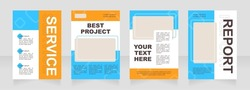 Turquoise and orange blank brochure layout design. Accounting service. Vertical poster template set with empty copy space for text. Premade corporate reports collection. Editable flyer paper pages
