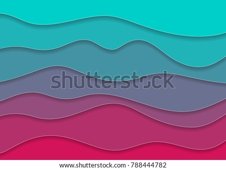 Turquoise and pink corporate waves abstract background. Vector design