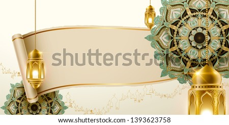 Turquoise arabesque flower and fanoos with blank scroll paper