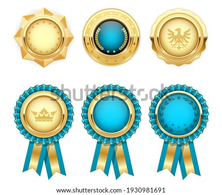 Turquoise award rosettes and gold heraldic medals, prize seal or insignia, vector Stockfoto ©