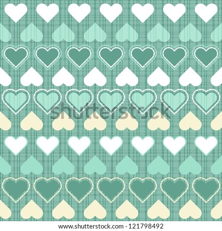 turquoise beige and white little hearts in rows on turquoise seamless romantic pattern