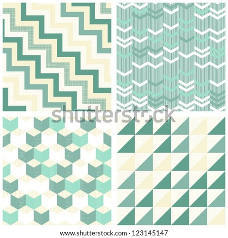 turquoise beige white chevron arrows triangles geometric seamless pattern scrapbook background set