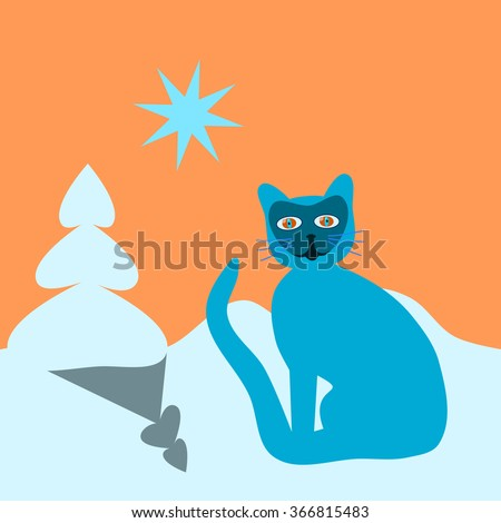 turquoise blue psychedelic cat