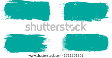 Turquoise brush stroke set isolated on white background. Trendy brush stroke vector for turquoise ink paint, grunge backdrop, dirt banner, watercolor design and dirty texture. Brush stroke vector