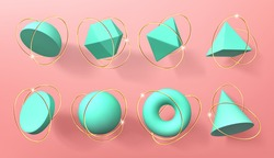Turquoise 3d geometric shapes with golden rings. Vector realistic set of abstract render figures, sphere, cone, pyramid, octahedron and torus. Volumetric geometry forms isolated on pink background