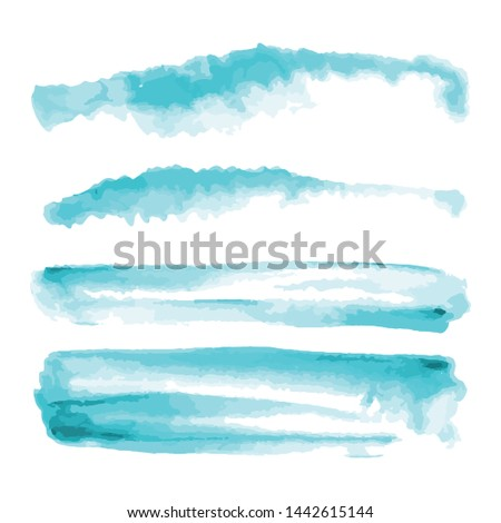 Turquoise, light blue watercolor shapes, splotches, stains, paint brush strokes. Abstract watercolor texture backgrounds set. Isolated on white background. Vector illustration.