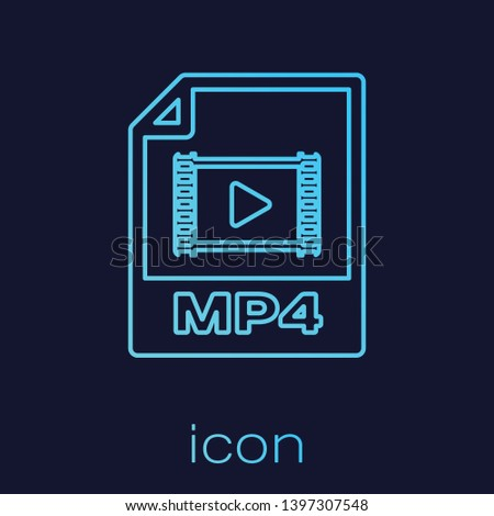 Turquoise MP4 file document icon. Download mp4 button line icon isolated on blue background. MP4 file symbol. Vector Illustration