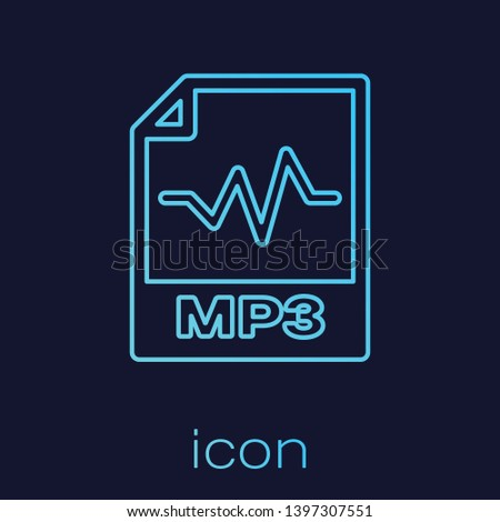 Turquoise MP3 file document icon. Download mp3 button line icon isolated on blue background. Mp3 music format sign. MP3 file symbol. Vector Illustration