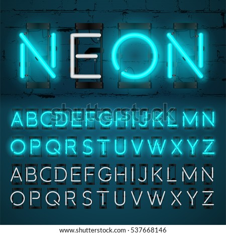 Turquoise neon light alphabet, vector glowing font with On and Off lamp isolated on Brick wall background.