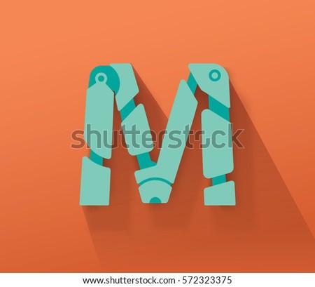 Turquoise Robot Concept Vector Capital M Letter for Your Futuristic Message Stock fotó ©