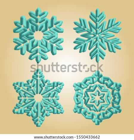 Turquoise snowflakes. Winter christmas snow flake crystal element. Weather illustration ice collection. Xmas frost flat isolated silhouette symbol on gold gradient background.