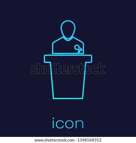 Turquoise Speaker line icon isolated on blue background. Orator speaking from tribune. Public speech. Person on podium. Vector Illustration