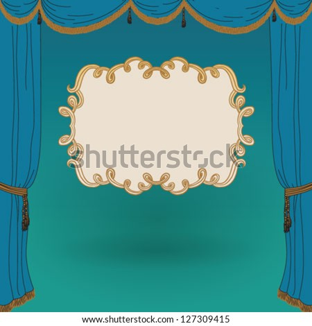 turquoise stage curtains with...