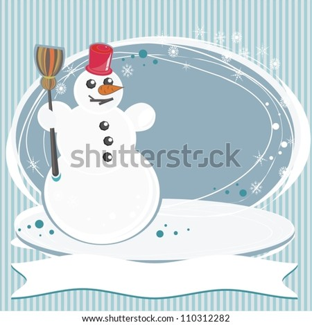 turquoise striped background with a snowman christmas card