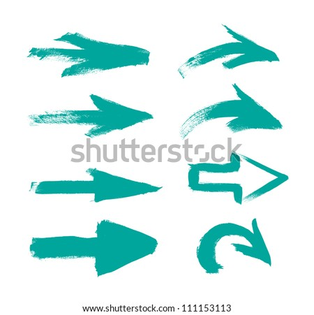 Turquoise vector hand-painted brush stroke arrows collection on black background