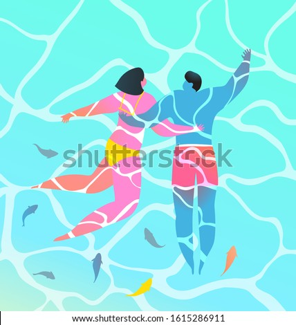 turquoise water two people