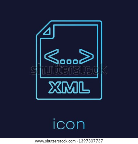 Turquoise XML file document icon. Download xml button line icon isolated on blue background. XML file symbol. Vector Illustration