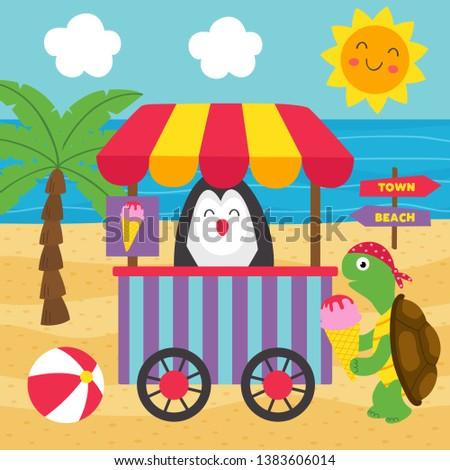 turtle buys ice cream on the beach - vector illustration, eps