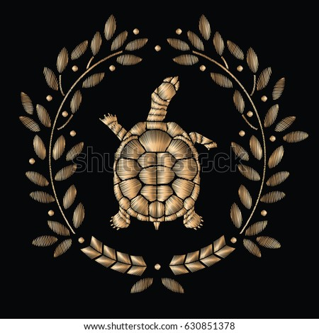 turtle embroidery embroidered
