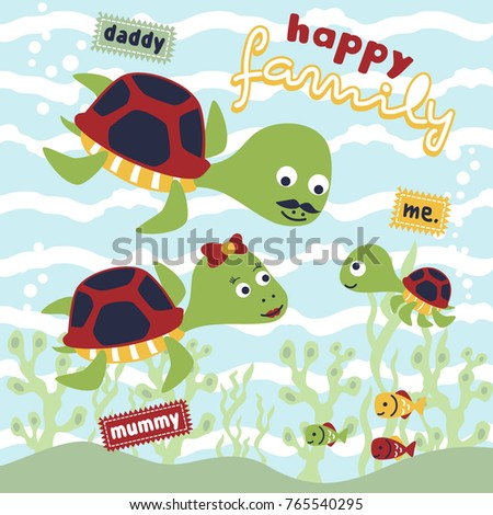 turtle family cartoon vector