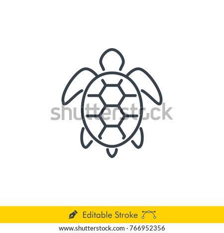 Turtle Icon / Vector - In Line / Stroke Design